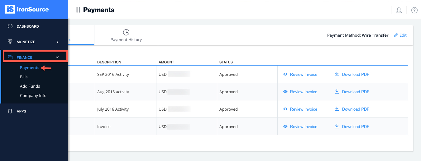 Ironsource Platform Payments Page Within Payment Invoices