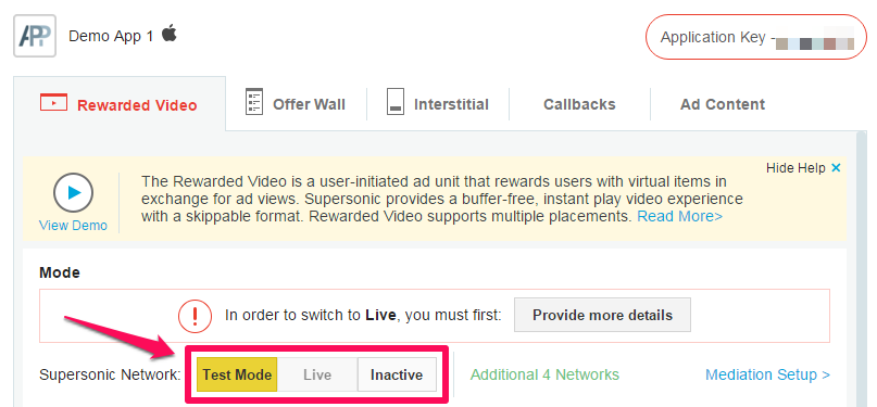 Supersonic Switch App to Live Mode Rewarded Video Ad Unit